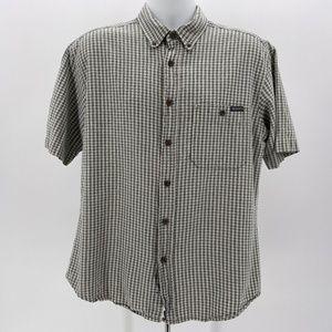 Woolrich Tan & Blue Plaid Short Sleeve Button Down